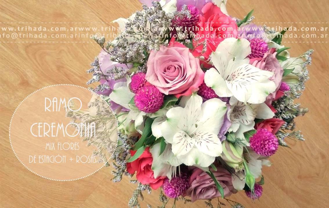 Ramo de ceremonia con rosas suculentas y follaje
