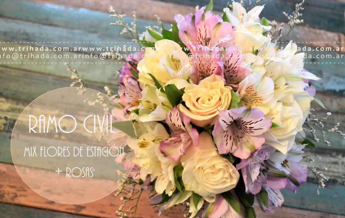 Ramo de civil de rosas y flores de estacion