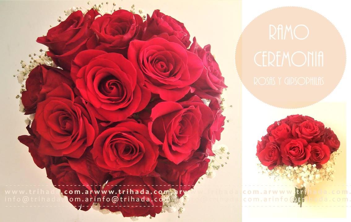Bouquet de rosas y gypsophilas tono a elección